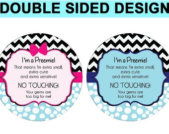 Twins- Preemie sign, newborn, baby car seat tag, baby shower gift, stroller tag, baby Preemie no touching car seat sign