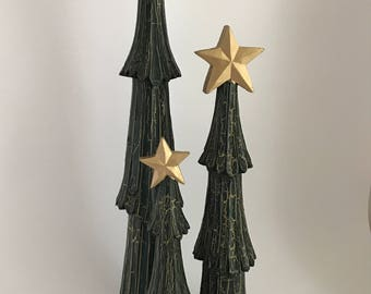Set of 3 Vintage Carved Wooden Christmas Trees