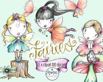 Fairy Clipart, watercolor fairies, hand drawn clipart, fairy Illustration,Butterfly,Hand Drawn,Graphics,Planner Stickers,Planner Girl