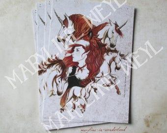 Redhead fairy and Unicorn postcard card
