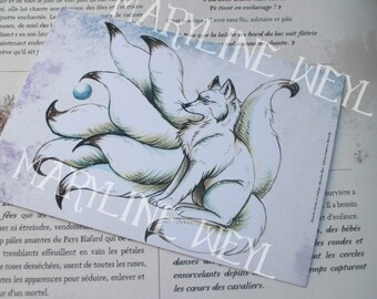 map postcard white kitsune Fox