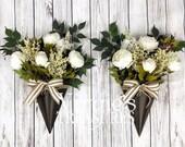 Beautiful Peony Floral Arrangement- White Peonies Door Hanger-Peony Floral Decor, Mantel Decor, Peony Set, Double Doors