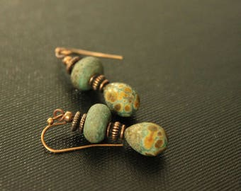 Lampwork Earrings - Artisan Beads - Bohemian Earrings - Tribal Gypsy Style - Petite Earrings - Rustic - Handmade Earrings - Lightweight