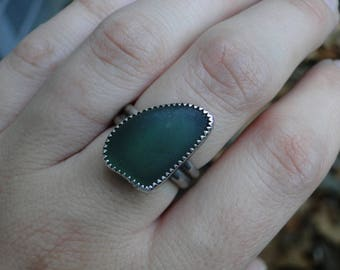 Teal Green Sea Glass Ring, Genuine Sea Glass, Sea Glass Ring, Mermaid Ring, Mermaid Jewelry, Sea Glass Gift, Sterling Silver, Size 6.5