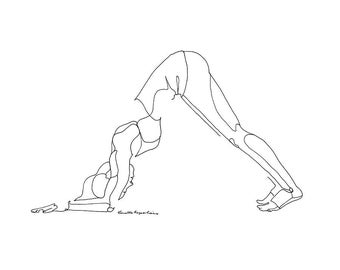 yoga line drawing of standing side stretch or half moon pose