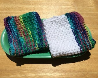 Cotton knit dishcloths, seed stitch dishcloths, soft wash cloths, rainbow and white cloths, bridal shower gift, housewarming gift, set of 2