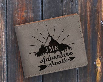 Adventure Awaits-Engraved Bifold Wallet - Personalized Mountains-Gray Wallet-Grey Wallet