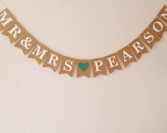 Wedding bunting, Personalised Mr & Mrs bunting, Greenery wedding decoration, Emerald green