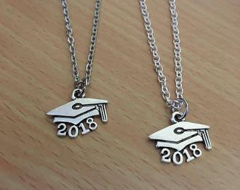 Graduate 2018 Cap Pendant Necklace, Graduate Necklace, Graduate Jewelry