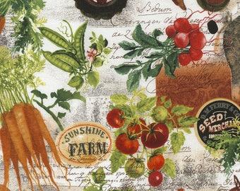 Farm Collage Fabric; You Choose Size; C5479; Timeless Treasures; Novelty Fabric; Farm Fresh; Farm Animals, Vegetables, Tractor