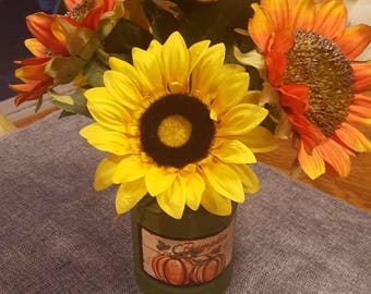 Sunflower Arrangement, Orange Sunflower Arrangement, Yellow Floral, Rustic Flowers, Fall Floral, Yellow Sunflowers, Red Sunflowers, Tin Can