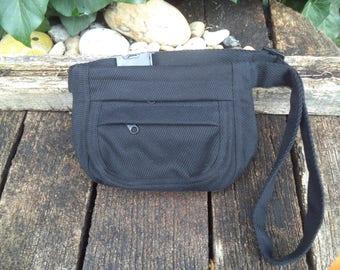 Black canvas fanny pack,hip bag,belt bag