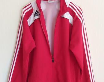 ADIDAS Vintage Red White Stripes Windbreaker Sport Jacket Large Size