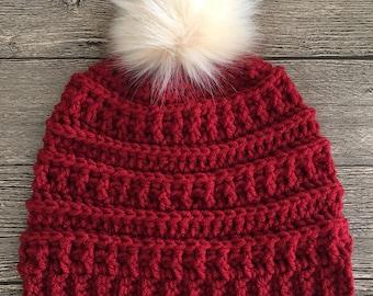 READY TO SHIP-Women's Crochet Pom Pom Beanie