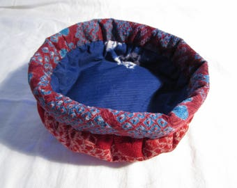 15cm Soft Round Silk Shibori Basket - made with vintage silk Japanese kimono fabric