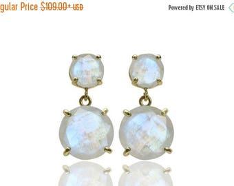 SUMMER SALE -  Rainbow moonstone earrings,dangle earrings,gold earrings,gemstone earrings,prong earrings,statement earrings