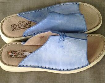 Vintage Stegmann's blue leather slide sandals