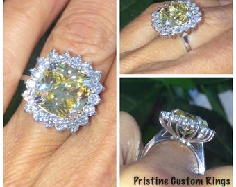 Yellow Diamond Engagement Ring Genuine Diamond Halo Yellow Cushion Cut Diamond Simulate Ring Vintage Gold Anniversary Pristine Custom Rings