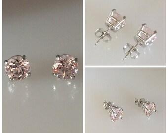 Morganite Earrings 2.40tw Genuine Round Pink Peach Morganite Earrings 18k white gold earrings Classic Stud earrings Pristine Custom Rings