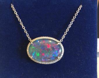 Natural Opal Pendant .18ct Genuine Diamond Halo Neckalce 18in Chain RARE Coober Pedy Mine Black Oval Opal Pendant Birthstone gift