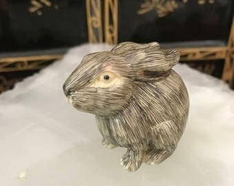 Japanese netsuke carved resin rabbit collectible