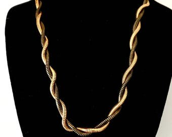 Silver and gold twisted chain choker necklace vintage fashion jewelry sale
