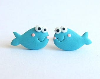Fish Earrings, Summer Jewelry, Kawaii Jewelry, Polymer Clay Jewelry, Blue Earrings, Funny Earrings, Stud Earrings, Stud Small Girls Earrings