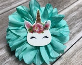 Flower Collar Attachment & Accessory for Dogs and Cats / Teal Petal UNICORN Flower
