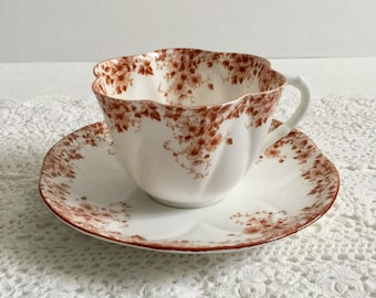 Rare Shelley Dainty Brown Tea Cup & Saucer