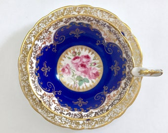 Cobalt Royal Stafford China Tea Cup & Saucer