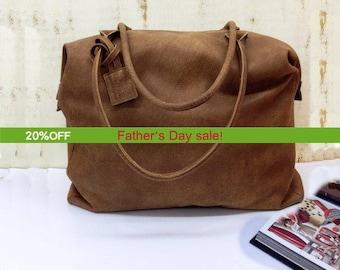 Apollo Weekender Leather Bag/20Handmade Full Grain in
