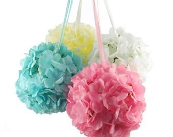 Silk Hydrangea Flower Kissing Balls Centerpiece, 6-Inch