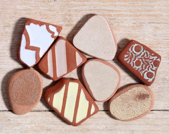 Sea Pottery / 8 pieces / Italian Genuine Patterned Sea Tiles for Collection, Jewelry and Mosaic (sp-0008-14)