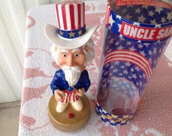 Uncle Sam Musical Bobble Head plastic Gemmy Industries