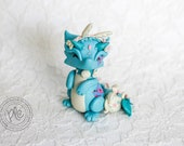 Polymer Clay Floral Dragon Figurine / Cute Easter Bunny Dragon Collectible / Miniature Dragon Sculpture In Blue