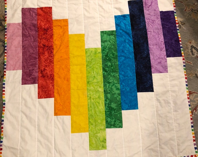 """Featured listing image: Rainbow Heart quilt 54"""" x 54"""""""