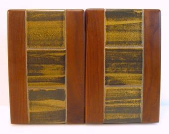 Mid Century MARTZ Marshall Studios Ceramic Tile and Teak Wood Bookends