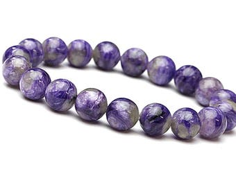 Charoite Bracelet, 8mm Russian Charoite Jewelry, Mala Beads Charoite Jewelry, Gemstone Bracelet, Purple Bracelet, Bracelets for Womens