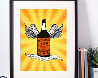Henderson's Relish Sheffield Sauce Illustrated Print Limited Edition