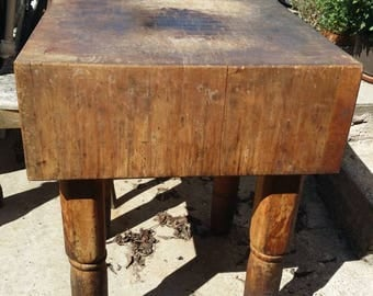 Vintage Butcher Block Table Chopping Tabel Antique