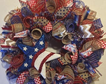 Sale Fourth of July Wreath, 4th of July Wreath, 4th of July, Fourth Of July, wreath, patriotic wreath, Fourth of July Decor, 4th of July dec