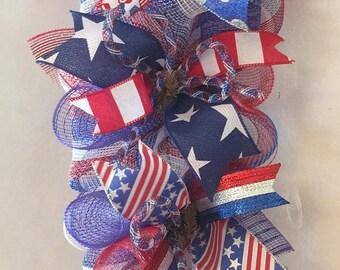 Sale 4th of July garland, Patriotic garland, garland, 4th of July mantle swag, mesh Patriotic garland, Fourth of July garland, Fourth of Jul