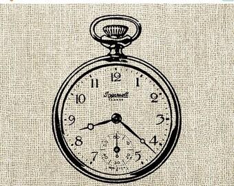 40% OFF SALE Clock Illustration Digital Download - Antique Vintage Clock Time Clipart Graphic Printable Transfer Craft Scrapbook INSTANT Dow