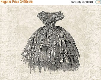 40% OFF SALE Digital Victorian Dress Illustration Download - Vintage Dress - Antique Victorian Clothing - Victorian Dress- Printable JPG Ins
