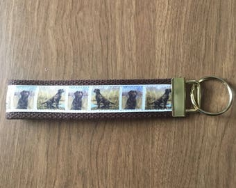 Chocolate Lab Key Chain Zipper Pull Wristlet