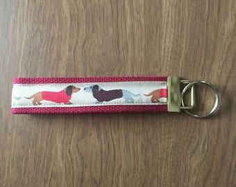 Dachshund Key Chain Zipper Pull Wristlet