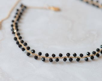 Delicate Handmade 14K Gold plated chain choker black crystal beaded choker necklace womens fashion jewellery
