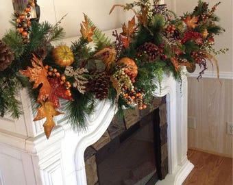 Fall Garland 6 foot with pumpkins, fall feathers and leafs