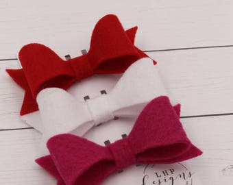 Felt Hair Bow Trio- Valentine's Day