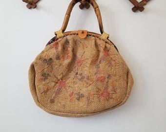Vintage Woven Sisal Embroidered Purse with Bamboo Handles